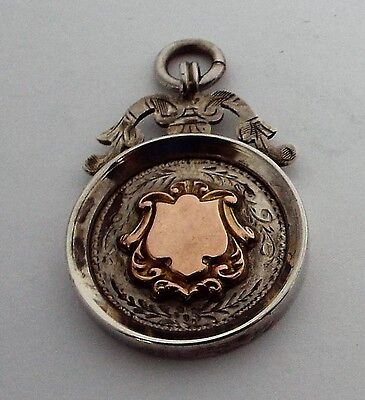 Solid sterling silver & gold fob medal charm pendant for pocket watch chain,1928