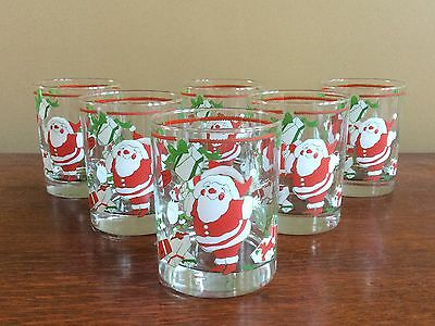 6 Vintage Georges Briard Santas Reindeer Christmas Glasses Excellent Condition