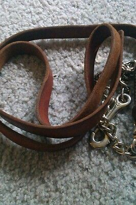 Brown leather lead rope with small chain