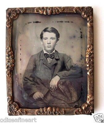 Antique Ruby Glass Ambrotype Photograph YOUNG TEENAGE BOY 9th Plate