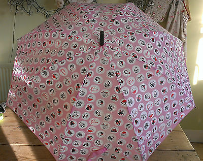Lulu Guinness Designer Umbrella Pink White Graphic Polka Dot 1950s Fashion Icons