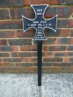 WW1  Cast iron German,Grave Marker,  24/7/1918 casualty , France