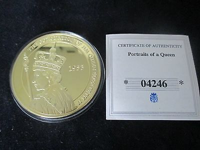 Large 50mm QEII Jewelled Coin - Portraits of a Queen With C.O.A