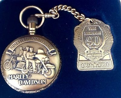Harley Davidson 90Th Anniversary Pocket Watch Rare & Collectable