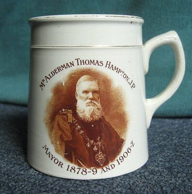 Antique crested commemorative pottery mug for mayor Hampton dated 1907,3.1/4inch