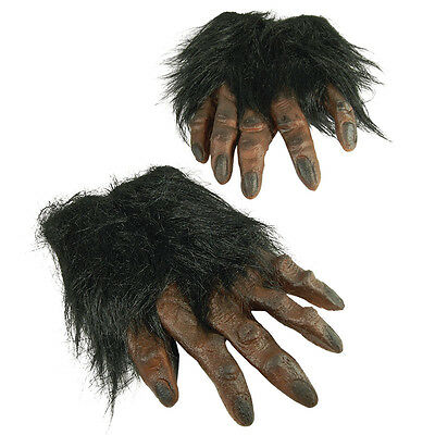 Brown Hairy Hands Ape Werewolf Gloves Fancy Dress