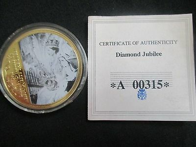 QEII Diamond Jubilee Comm. Gold & Coloured Crown Size Coin/Medallion In Capsule