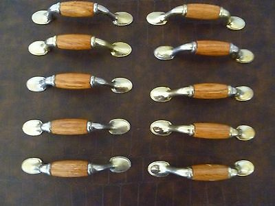 "Set of 10 Vintage Brass Handles W/Medium Oak Inserts 3"" Centers No Screws"