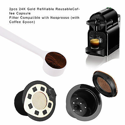 2*  24K Gold  Capsule Filter Refillable Reusable Coffee For Nespresso + Spoon