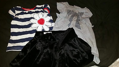 3 X Girls Clothing George Velvet Skirt And 2 Tops Age 2-4 Years