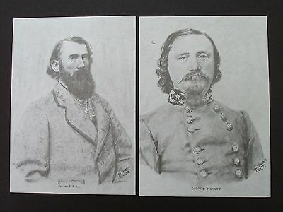 "2 Civil War Pencil Sketches by Bobby Horton #2039 A P Hill & G Pickett 5""x7"""
