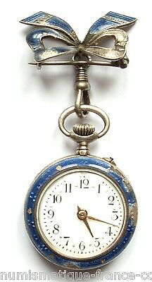 rare FRENCH ancient Blue & Gold Enamel pocket watch solid VERMEIL Silver 19Th C.
