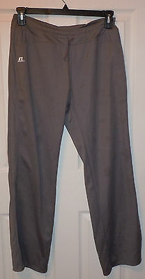 RUSSELL ATHLETIC WOMENS Size L  LARGE GRAY TRACK PANTS GYM RUNNING LOUNGE