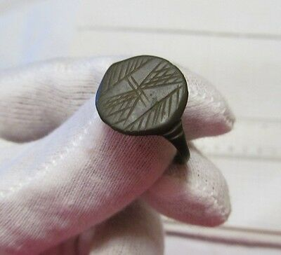 Ancient bronze ring with ornaments №87/2