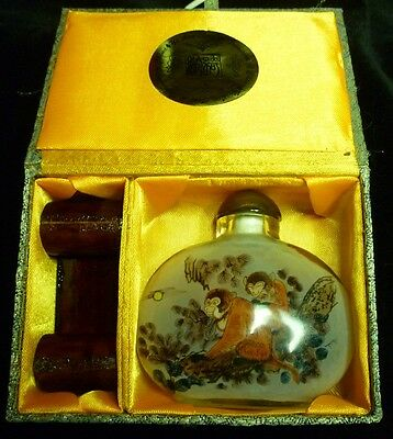 2004 Year of the Monkey Chinese Snuff Bottle by Yi Lin Arts L/E 450/2000 with bo