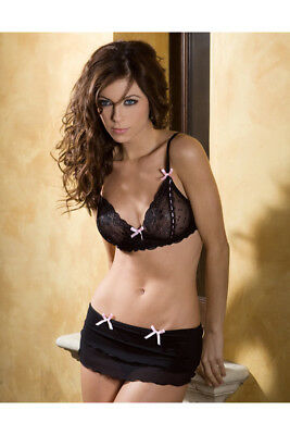 Romantic Bows Bra and Skirted Thong Lingerie Set