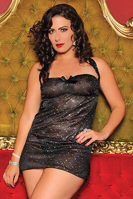 Plus Size Ava Sequin Mesh Chemise and Thong Set