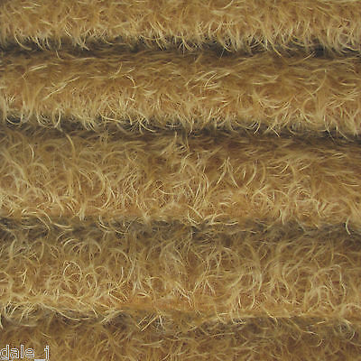 """1/4 yd 325S/CM Honey Tan INTERCAL 5/8"""" Semi-Sparse Curly Matted Mohair Fabric"""