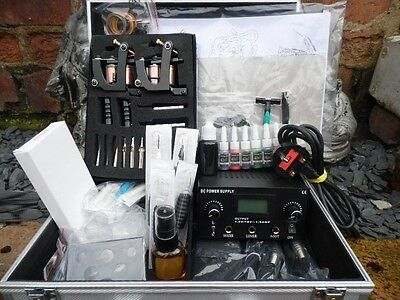 Pro Cased Tattoo Kit Dual Power Supply  2 Cast Machine Studio Quailty