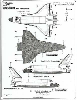 Warbird Space Shuttle Tile Decals for Tamiya Kit  1/100 01