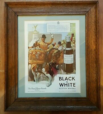 Vintage Black And White Scotch Whisky Framed Original Magazine Advertisement