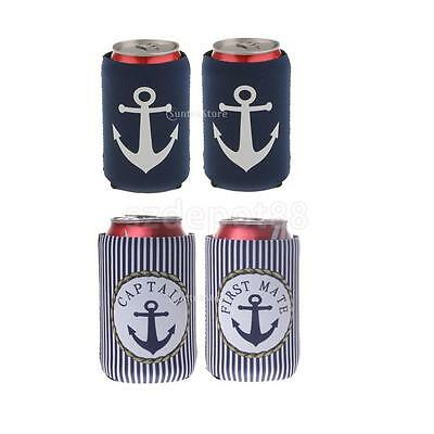 2 Pairs Neoprene Captain First Mate Beer Cozy Tin Can Holder Chilling Cooler