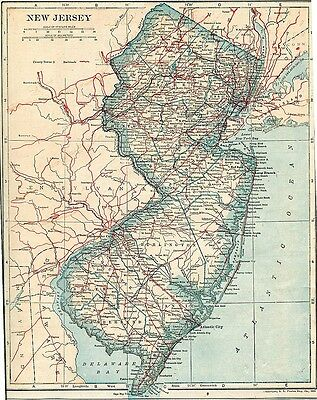 Vintage Map NEW JERSEY,1922
