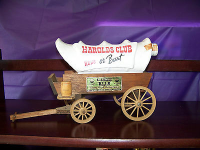 Vintage Harolds Club Reno or Bust Jim Beam Covered Wagon Decanter