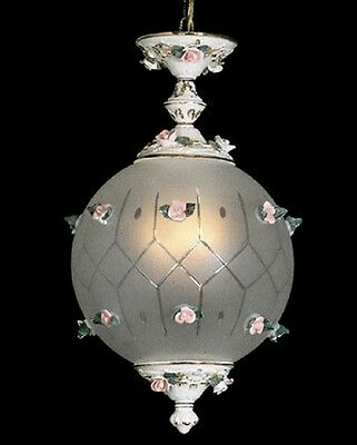 """Capodimonte Swag Ceiling Globe Fixture with 2 Lights 22"""" H x 12"""" W White & Gold"""