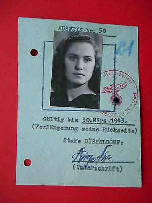 UKRAINE 1943 Occupation ID for woman from ZHITOMIR with real photo.