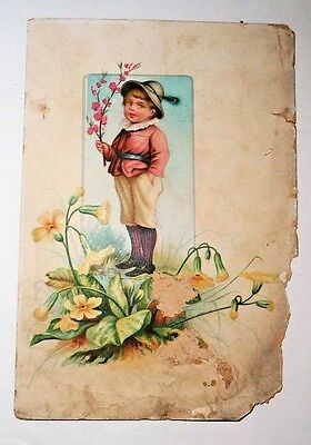 Antique Vintage Victorian Trade Card Woolson Spice Co Lion Boy With Flowers