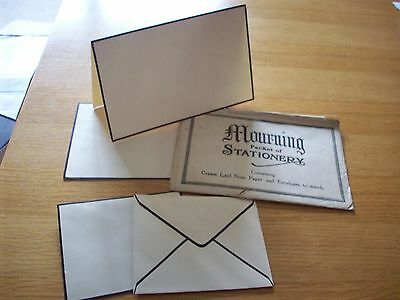 Vintage Victorian mourning stationery packet containing unused stationery