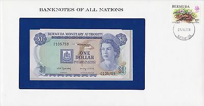 Franklin Mint Banknotes of All Nations + stamp: Bermuda 1 Dollar (1982) P-28 UNC