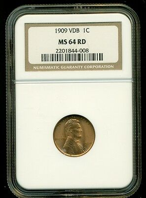1909 Vdb Lincoln Wheat Cent Coin! Rare Ngc Ms 64 Rd!