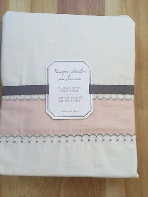 NEW POTTERY BARN KIDS  MONIQUE LHUILLIER Ethereal DUVET COVER TWIN $129