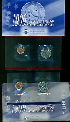 1999 Uncirculated Susan B. Anthony Dollar Coin Set P D COA US Mint Free Ship