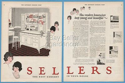 1922 Sellers Kitchen Cabinet Elwood IN Hoosier Cuboard Keep Young Beautiful Ad