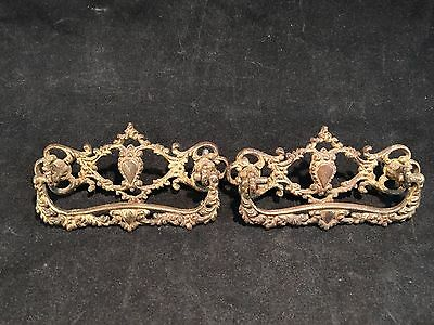 Lot of 2 Antique Brass Drawer Handles