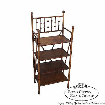 Antique 19th Century Burnt Bamboo Small Open Bookcase Etagere