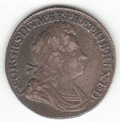 1723 Great Britain George I Sterling Silver Shilling.  gVF