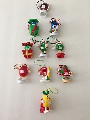 M&M Christmas 10 Pc Candy Tube Toppers Tree Ornaments Vintage