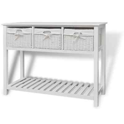 White Sideboard Console Table Hallway Storage Shelf 3 Woven Baskets Wooden Wood