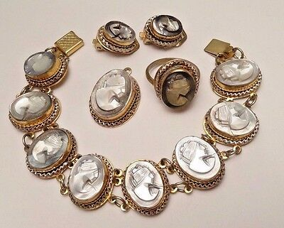 Antique Mop Cameo Bracelet Pendant Earrings Ring Parure Set Silver 800 Sgn Gm