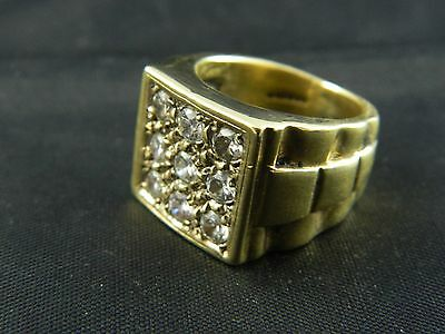9ct Gold Mens / Gents Stone Set Ring / 23.7g  / Size R