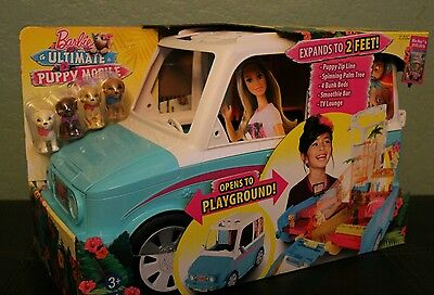 Playset Barbie Ultimate Puppy Mobile Vehicle with 4 Puppies Pretend Play Toys