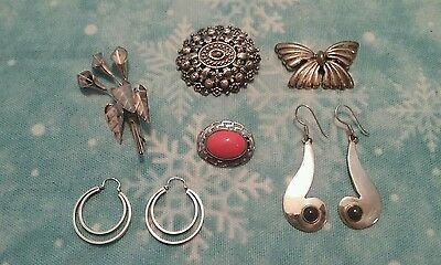 Vintage Sterling silver jewelry lot 2 pair earrings, 4 brooches