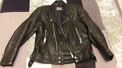 Chaqueta Motorista De Cuero Vintage, Leather Biker Jacket, Tt Leathers