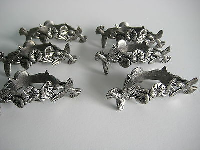 6 Metzke Silver Pewter Hummingbird Floral Napkin Rings With Container