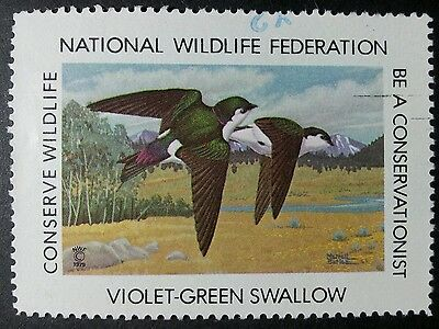 "U.s.a 1979. ""national Wildlife Federation. ""violet-Green Swallow"" Vfu."