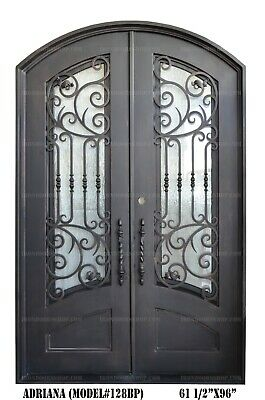 Adriana Wrought Iron Double doors Operable Glass with Iron Pulls